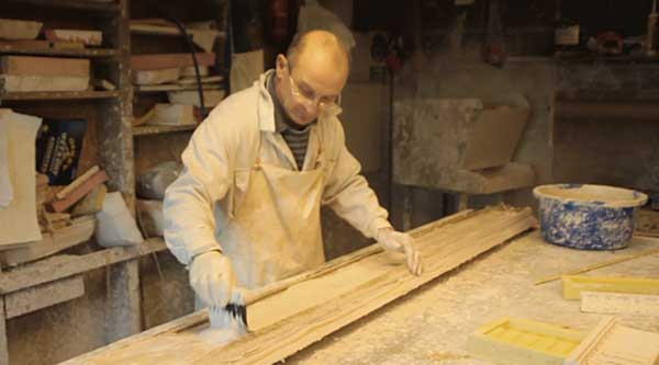 Creating a plaster cast moulded cornice