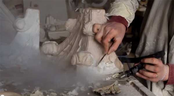 Cleaning and recasting a plaster corbel