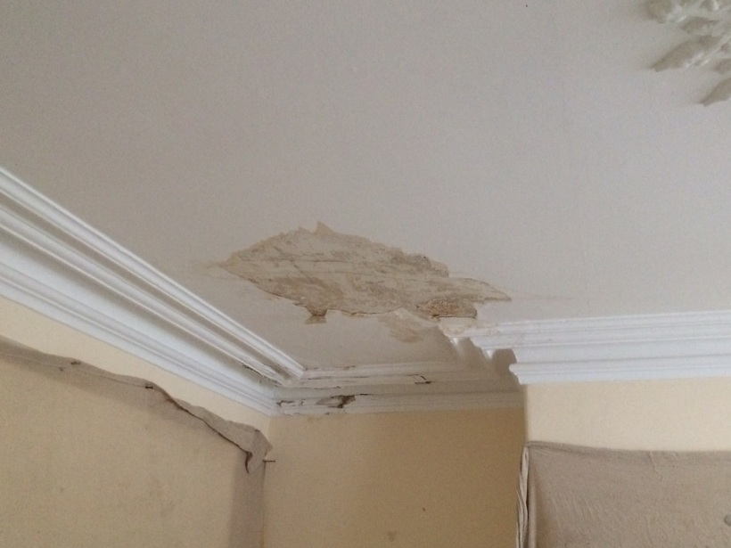 A leak has caused damage to the lath and plaster ceiling, also the section of cornice which cannot be repaired, just replaced.