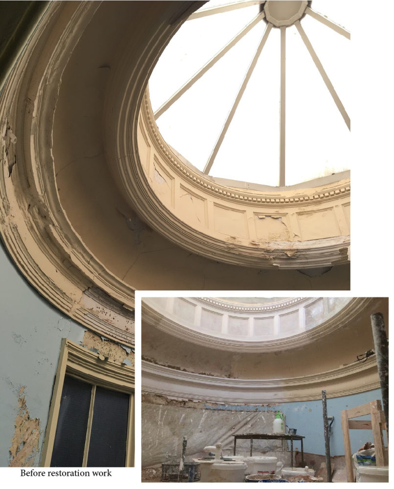 Depicting images of the circular glazed dome before restoration works began, with a smaller image of progress in this area to date.