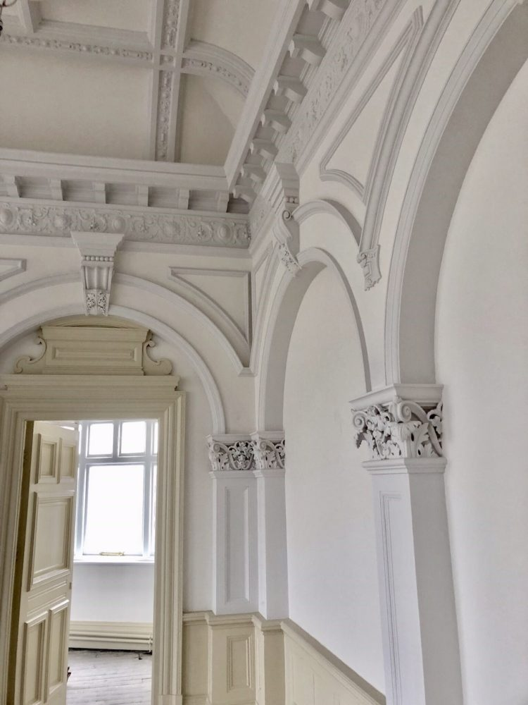 The finished ornamental plasterwork painted in 3 subtle shades, the ornamental plasterwork in the Civic Suite is now finished.